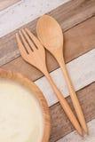 Yoghurt met ontbijt Stock Fotografie