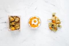 Yoghurt met physalis op steen hoogste mening als achtergrond Stock Foto's