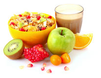 Yoghurt, muesli, milk and fruits isolated Royalty Free Stock Photos