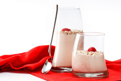 Yoghurt musli with raspberries Stock Photography