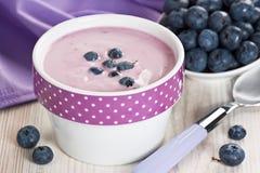 Yoghurt och blåbär royaltyfri foto