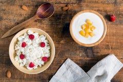 Yoghurt och keso med frukter, över huvudet sikt Fotografering för Bildbyråer