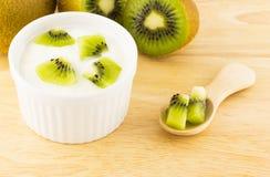 Yoghurt och kiwi Fotografering för Bildbyråer