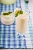 Yoghurt och smoothie med melon Läcker mejeriefterrätt för brea royaltyfria bilder