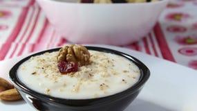 Yoghurt och valnötter Royaltyfria Bilder
