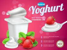 Yoghurt Package Advertising Composition Royalty Free Stock Image