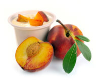 Yoghurt with peach Stock Photography