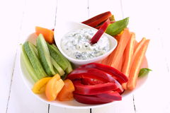 Yoghurt sauce with garlic and basil with vegetables Stock Image