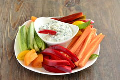 Yoghurt sauce with garlic and basil with vegetables Royalty Free Stock Photo
