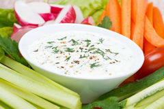Yoghurt sauce with mustard and fresh vegetables Stock Photo