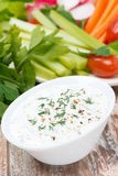 Yoghurt sauce with mustard for fresh vegetables, vertical Stock Photo