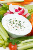 Yoghurt sauce with mustard, herbs and fresh vegetables, vertical Stock Images