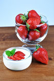 Yoghurt and Strawberries Royalty Free Stock Photography