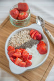Yoghurt with strawberries and granola Royalty Free Stock Photography