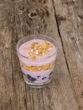Yoghurt on the table. Food. Delicious yoghurt with muesli on the table stock photo