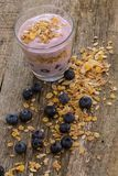 Yoghurt on the table. Food. Delicious yoghurt with muesli on the table royalty free stock photos