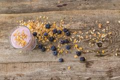 Yoghurt on the table. Food. Delicious yoghurt with muesli on the table stock photography