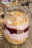 Yoghurt on the table. Food. Delicious yoghurt with muesli on the table royalty free stock photo