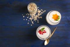 Yoghurten med havren flagar i exponeringsglas arkivfoto