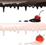 Yoghurts en bessen royalty-vrije illustratie
