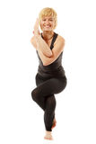Yogi женщины в представлении йоги на белизну Стоковая Фотография