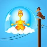 Yogi chicken in levitation. Above a cloud with a bird hypnotized by view vector illustration