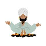 Yogi on coals. Indian yogi sitting on hot coals. Meditation Yoga Stock Image