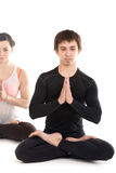Yogi couple in padmasana Stock Photo