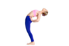 Yogi female doing half wheel pose Stock Image