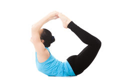 Yogi female in yoga asana dhanurasana Stock Image
