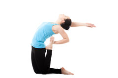 Yogi female in yoga asana Ustrasana Royalty Free Stock Photo