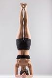 Yogi girl in headstand, asana Sirsasana, Shirshasana, Sirshasana. Sporty girl doing Supported Headstand, yoga asana Sirsasana, Shirshasana, Sirshasana, Headstand Stock Photos