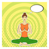 Yogi girl in pop-art style. Asana, lotus posture. Dotted, concentric circles, pop art background, pin-up pattern. Comic speech Stock Photos