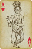 Yogi. An hand drawn illustration converted into vector - Indian Yogi Stock Image