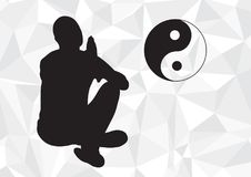 Yogi in Lotus pose on geometric black and white background. Stock Image