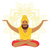 Yogi man in yoga lotus pose and with arms raised, colorful character vector Illustration. Isolated on a white background Royalty Free Stock Photo