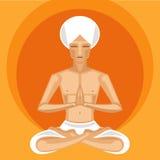 Yogi meditating. Illustration of meditating yogi in lotus position on orange background Stock Image