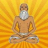 Yogi meditation pop art vector illustration. Yogi meditation pop art retro vector illustration. Color background. Comic book style imitation Royalty Free Stock Photos