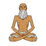 Yogi meditation pop art vector illustration. Yogi meditation pop art retro vector illustration. Isolated image on white background. Comic book style imitation Royalty Free Stock Photo