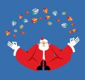 Yogi meditazione e regali di Santa Claus Yoga di Natale Nuovo anno illustrazione di stock