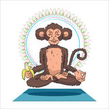 Yogi monkey namaste new year symbol 2016 Royalty Free Stock Photography