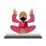 Yogi on nails. Indian yogi sits on spike. nirvana Meditation Yog Stock Images