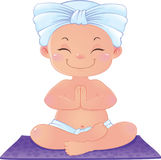 Yogi nella meditazione che si siede nella posizione di loto Fotografie Stock Libere da Diritti