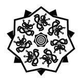 Yogi pattern. Emblem for yoga school. Indian yoga in turban. Rel. Yogi doodle. Emblem for yoga school. Indian yoga in turban. Relaxation and meditation Stock Images
