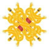 Yogi pattern. Emblem for yoga school. Indian yoga in turban. Rel Royalty Free Stock Photos