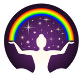 Yogi and rainbow Royalty Free Stock Images