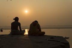 Yogi on the River Ganges, Varanasi india. Yogi on the River Ganges, Varanasi Royalty Free Stock Image