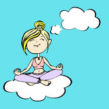 Yogi thinks a girl sitting on a cloud Royalty Free Stock Image