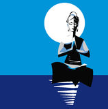 Yogi woman, with illuminated Moon-Mind. Royalty Free Stock Photos