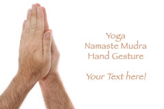 Yogic hand position Namaste Anjali mudra on white Stock Photo
